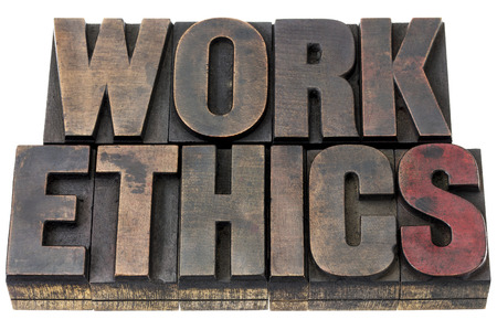 morale: work ethics - isolated word in vintage letterpress wood type with ink patina
