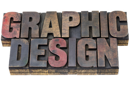 graphic design in vintage grunge letterpress wood type stained by inks