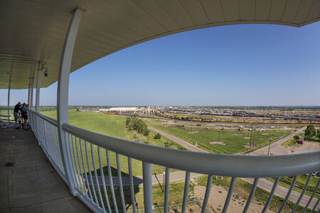 NORTH PLATTE, NEBRASKA, JULY 14, 2014: Fisheye view of Union Pacifics Bailey rail yard from Golden Spike Tower. It is where east meets west on the Union Pacific line. The worlds largest train yard is handling 10,000 cars each day. Editorial