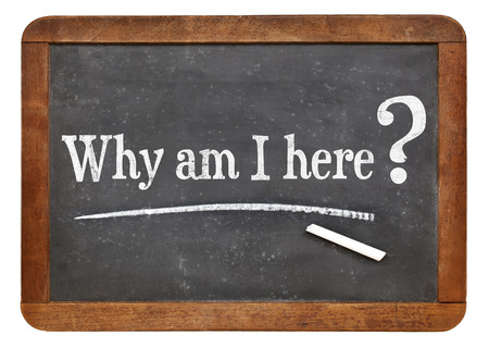 i am here: why am I here question  on a vintage slate blackboard