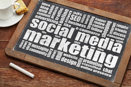 social media marketing word cloud on  a vintage blackboard with a cup of coffee photo