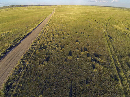 pawnee grassland: aerial view of Pawnee National Grassland in Colorado from a low flying quadcopter drone
