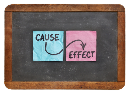 cause: cause and effect concept - colorful sticky notes on a vintage slate blackboard  isolated on white Stock Photo