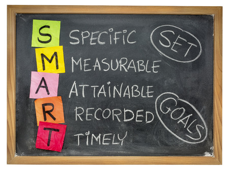 education goals: set goals SMART (specific, measurable, attainable, recorded, timely) colorful sticky notes and chalk handwriting on a blackboard