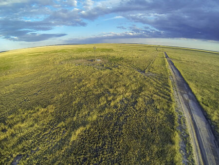 pawnee grassland: Colorado prairie in sunset light - aerial view of Pawnee National Grassland from a low flying quadcopter drone Stock Photo