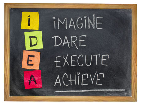 idea acronym (imagine, dare, execute,achieve) - motivation concept - colorful sticky notes and chalk handwriting on a blackboard