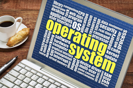 operating system: operating system word cloud on a laptop with a cup of coffee