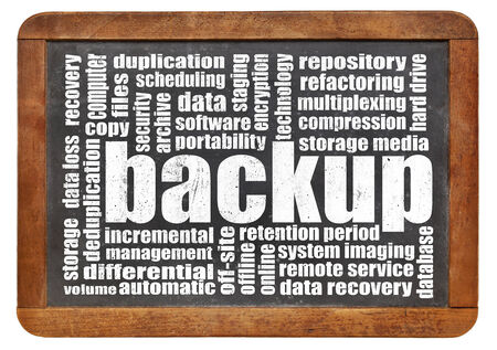 data recovery: backup word cloud on an isolated vintage blackboard