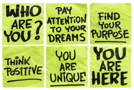 find your purpose and other motivational phrases - a set of isolated crumpled sticky notes