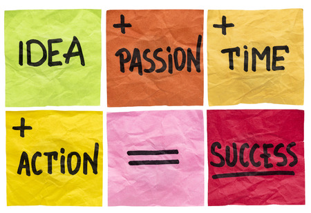 success formula with idea, passion, time and action ingredients - a set of isolated crumpled sticky notes Banco de Imagens