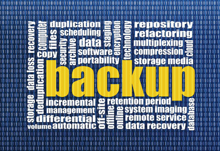 data recovery: backup and data recovery word cloud with a binary background