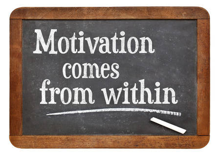 within: motivation comes from within phrase on a vintage slate blackboard