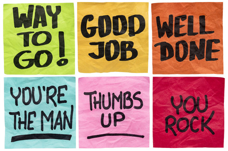 affirmation: way to go, good job, well done, youre the man, thumbs up, you rock - a set of isolated sticky notes with positive affirmation words