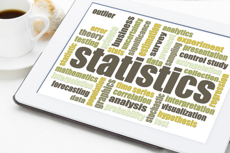 statistics and data analysis word cloud on a digital tablet with a cup of coffee Stok Fotoğraf