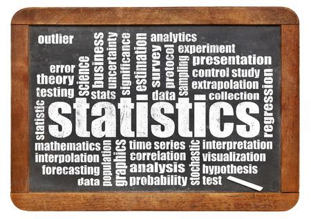 correlation: statistics word cloud on a vintage slate blackboard isolated on white