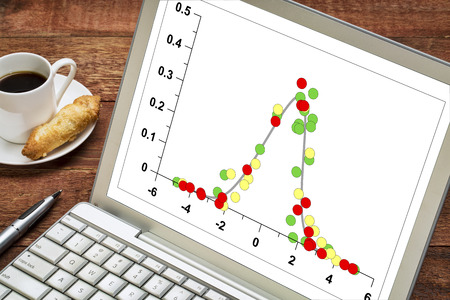 gaussian distribution: graph of data following Gaussian distribution (bell curve) on a laptop with a cup of coffee Stock Photo