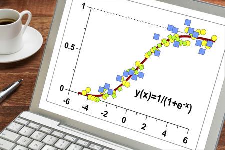 demografia: modelo de crecimiento limitado en un ordenador port�til con una taza de caf� - los datos despu�s de la funci�n log�stica con aplicaciones en las estad�sticas, la ecolog�a, la medicina, la demograf�a y otras ciencias