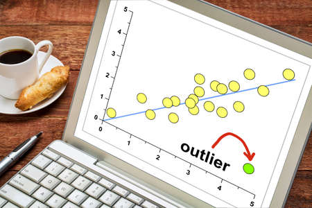 correlation: outlier or outsider concept on a laptop with a cup of coffee