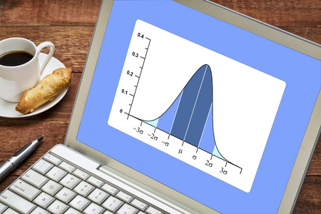 data distribution: Gaussian, bell or normal distribution curve on laptop computer  with a cup of coffee Stock Photo