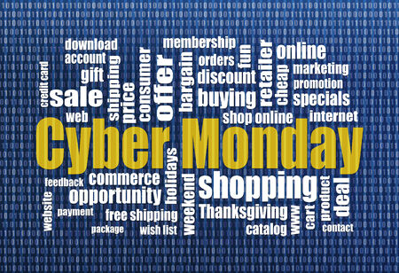 Cyber Monday word cloud with computer screen texture  - a holiday online shopping concept photo