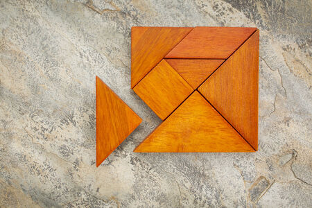 misfit concept - traingular piece is too large to fit into tangram square puzzle