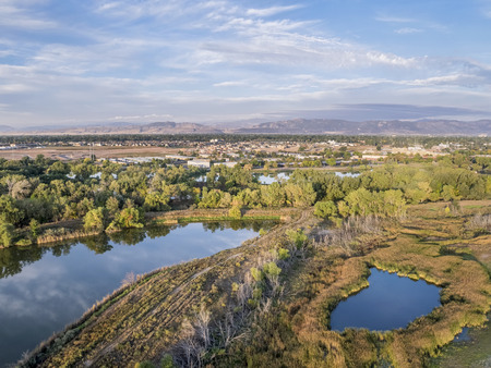 fort collins: aerial view of Cotton Hollow, one of natural areas in Fort Collins, Colorado