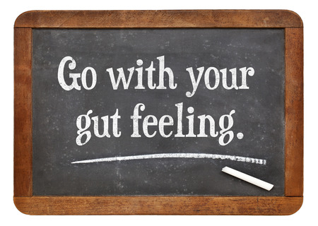 go with your gut feeling - advice or motivational reminder  on a vintage slate blackboard Foto de archivo