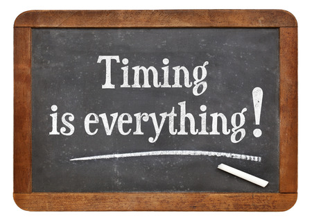 timing is everything - reminder words on a vintage slate blackboard Stock Photo