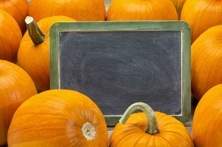 blank slate blackboard with white chalk smudges and pumpkin - Halloween or Thanksgiving theme photo