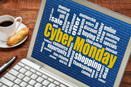 Cyber Monday word cloud  on a laptop with a cup of coffee - a holiday online shopping concept photo