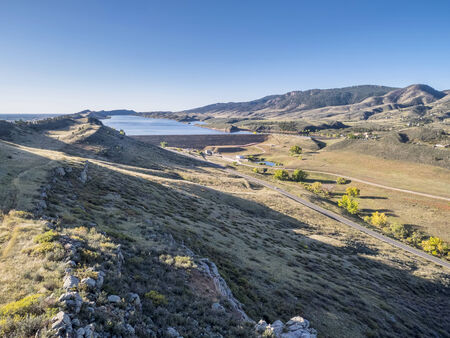 horsetooth reservoir: aerial view of Horsetooth Reservoir and dam at Colorado foothills near Fort Collins, fall scenery