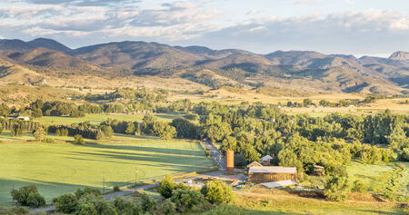 irrigated: irrigated foothills farmland in sunrise light, Belvue near Fort Collins in northern Colorado Stock Photo
