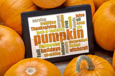 pumpkin word cloud on a digital tablet surrounded by pumpkins - fall holidays concept photo