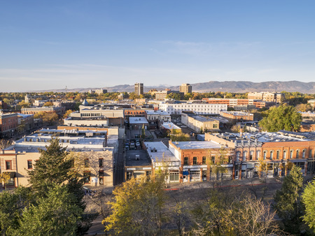 collins: aerial view of Fort Collins downtown in sunrise light, shot from a low flying drone Stock Photo
