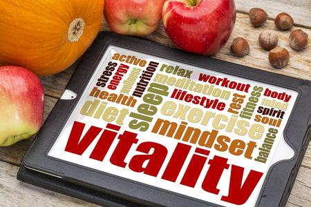 Vitalität oder Lebensenergie Wort Wolke auf einer digitalen Tafel mit Äpfeln, Kürbis und Haselnüssen