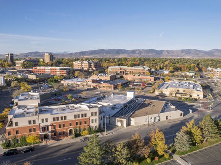 fort collins: aerial view of Fort Collins downtown in sunrise light, shot from a low flying drone Stock Photo