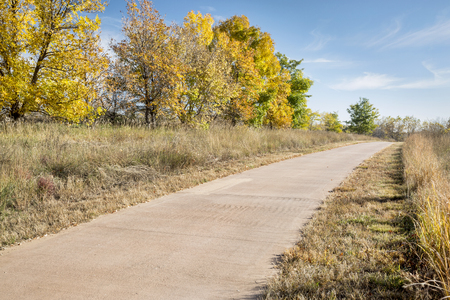 poudre river: paved bike trail along the Poudre River in Fort Collins, COlorado, fall scenery