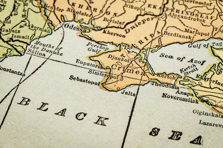 copyrights: Crimea and Black Sea coast on a vintage 1920s map, selective focus (printed in 1926 - copyrights expired)
