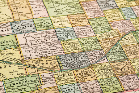 copyrights: central Nebraska with Platte River  on vintage 1920s map, selective focus (printed in 1926 - copyrights expired) Stock Photo