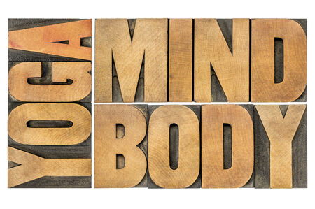 mind body: yoga, mind, body word abstract - isolated text in letterpress wood type Stock Photo