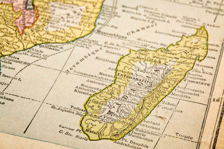 copyrights: Madagascar and southeaster Africa on vintage 1920s map, selective focus (printed in 1926 - copyrights expired) Stock Photo