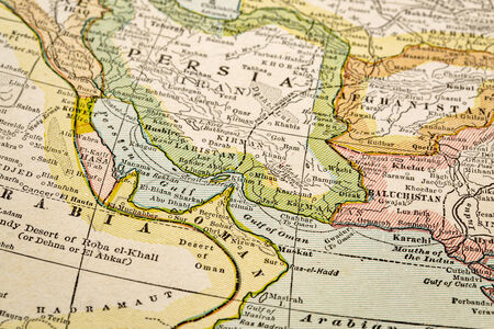 persian gulf: Persian Gulf  region a on vintage 1920s map, selective focus (printed in 1926 - copyrights expired) Stock Photo
