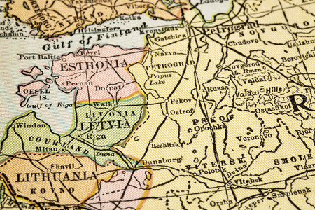 soviet union: Baltic countries (Estonia, Latvia, Lithuania) and Russia (Soviet Union) on vintage 1920s map, selective focus (printed in 1926 in New International Atlas of the World - copyrights expired)