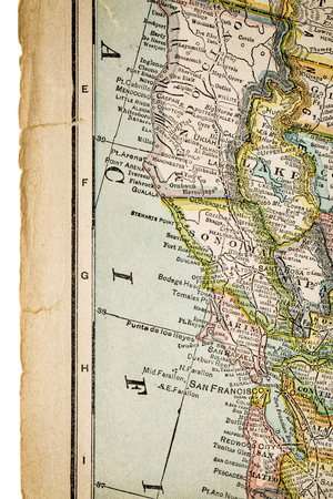 copyrights: north California and San Francisco  on vintage 1920s map with rough worn out edge (printed in 1926 in New International Atlas of the World - copyrights expired) Stock Photo