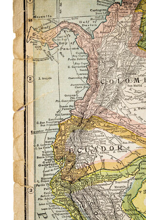 copyrights: Colombia and Ecuador  on vintage 1920s map, selective focus (printed in 1926  - copyrights expired)