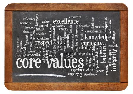core values word cloud on a vintage slate blackboard 스톡 콘텐츠