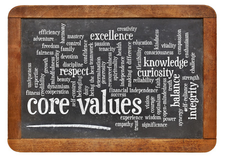 core values word cloud on a vintage slate blackboard Stockfoto