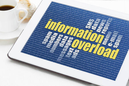 email: information overload concept - a word cloud on a digital tablet with a cup of coffee