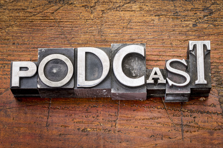 podcast: podcast word in vintage metal type printing blocks over grunge wood
