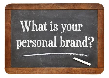 Was ist Ihre persönliche Marke Frage auf einem Vintage-Schiefer Tafel